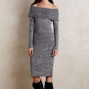 Anthro Moth Off-the-Shoulder Midi Sweater Dress